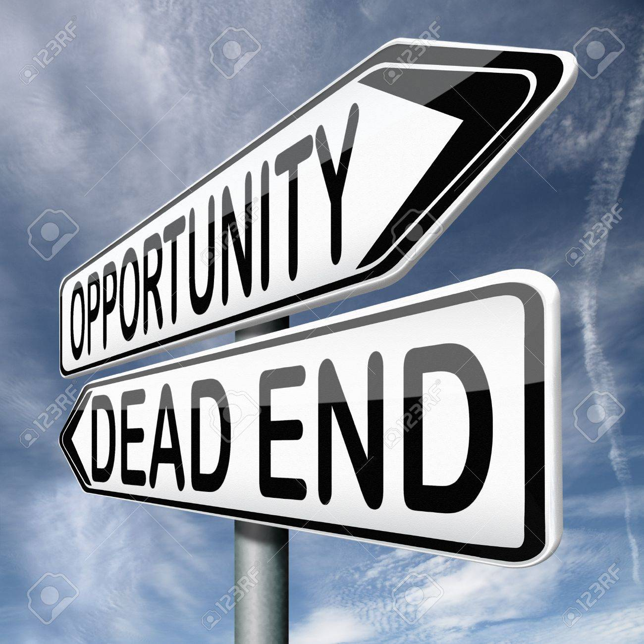 opportunity or dead end street a better choice for business way stock photo opportunity or dead end street a better choice for business way or road towards success