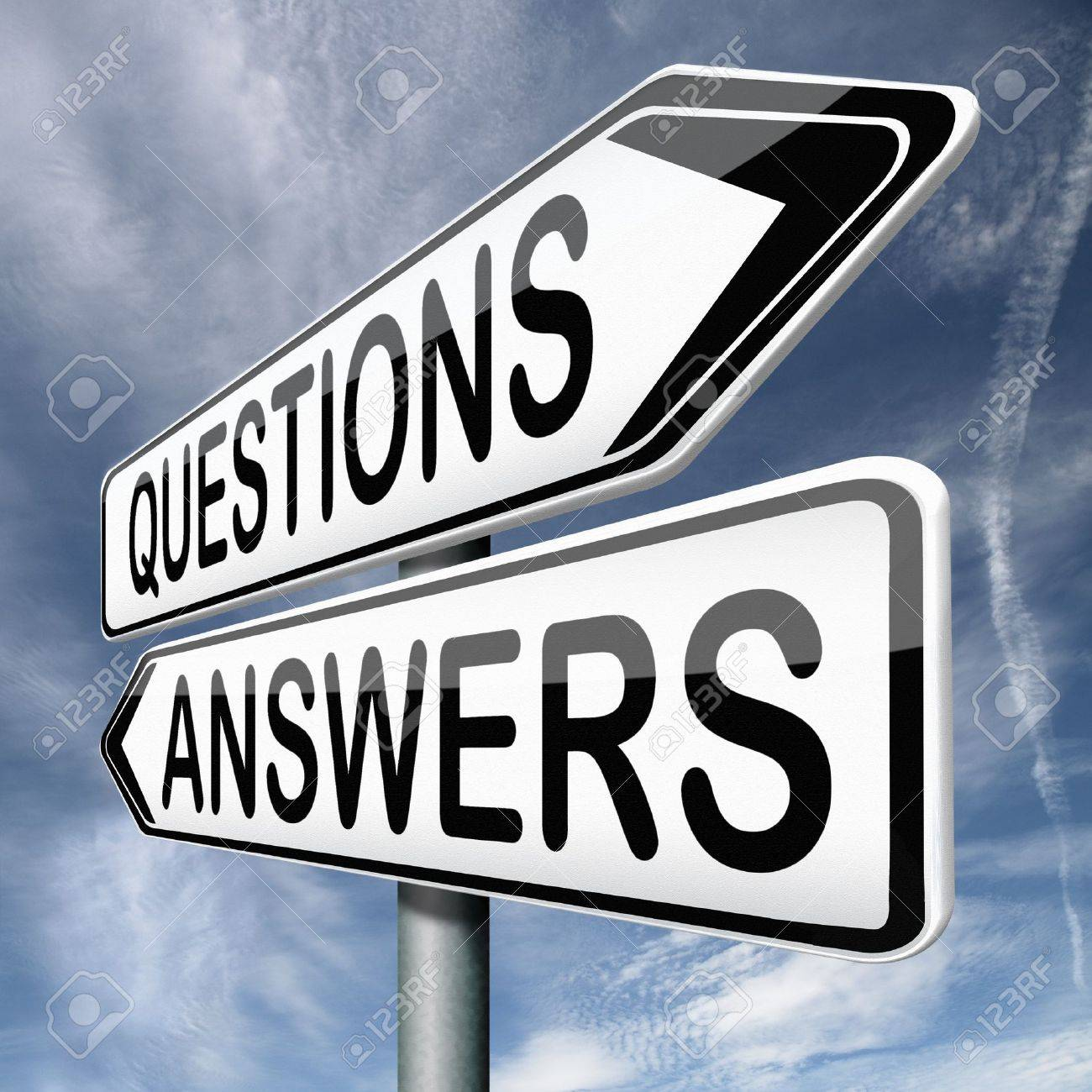 Questions Answers Ask The Right Question And Get An Answer Road Sign  Indicating Online Help Or Support Desk Solving Problems