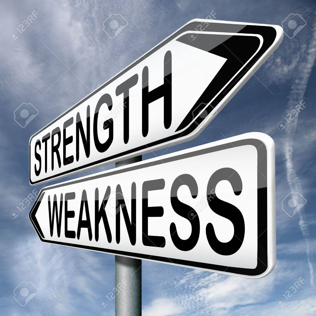 strength or weakness overcome fragility strong or weak road sign stock photo strength or weakness overcome fragility strong or weak road sign signpost