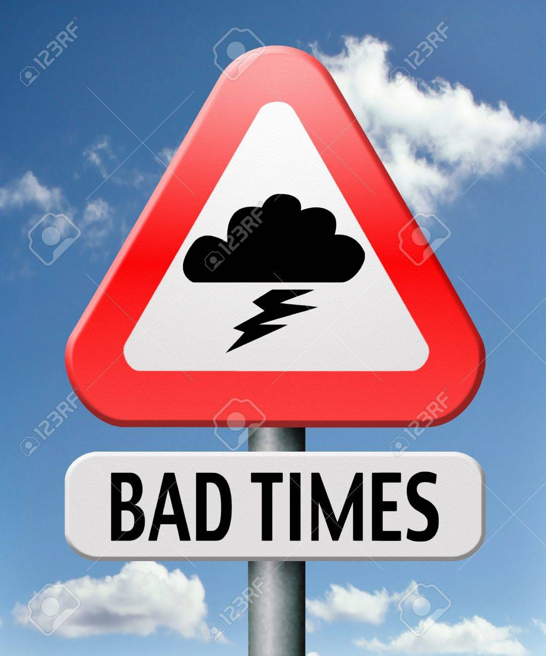bad times no luck because of misfortune resession and crisis unlucky day ahead problems in near future warning for big troubles and failure pessimistic prediction negative view to future and pessimism Stock Photo - 17463007
