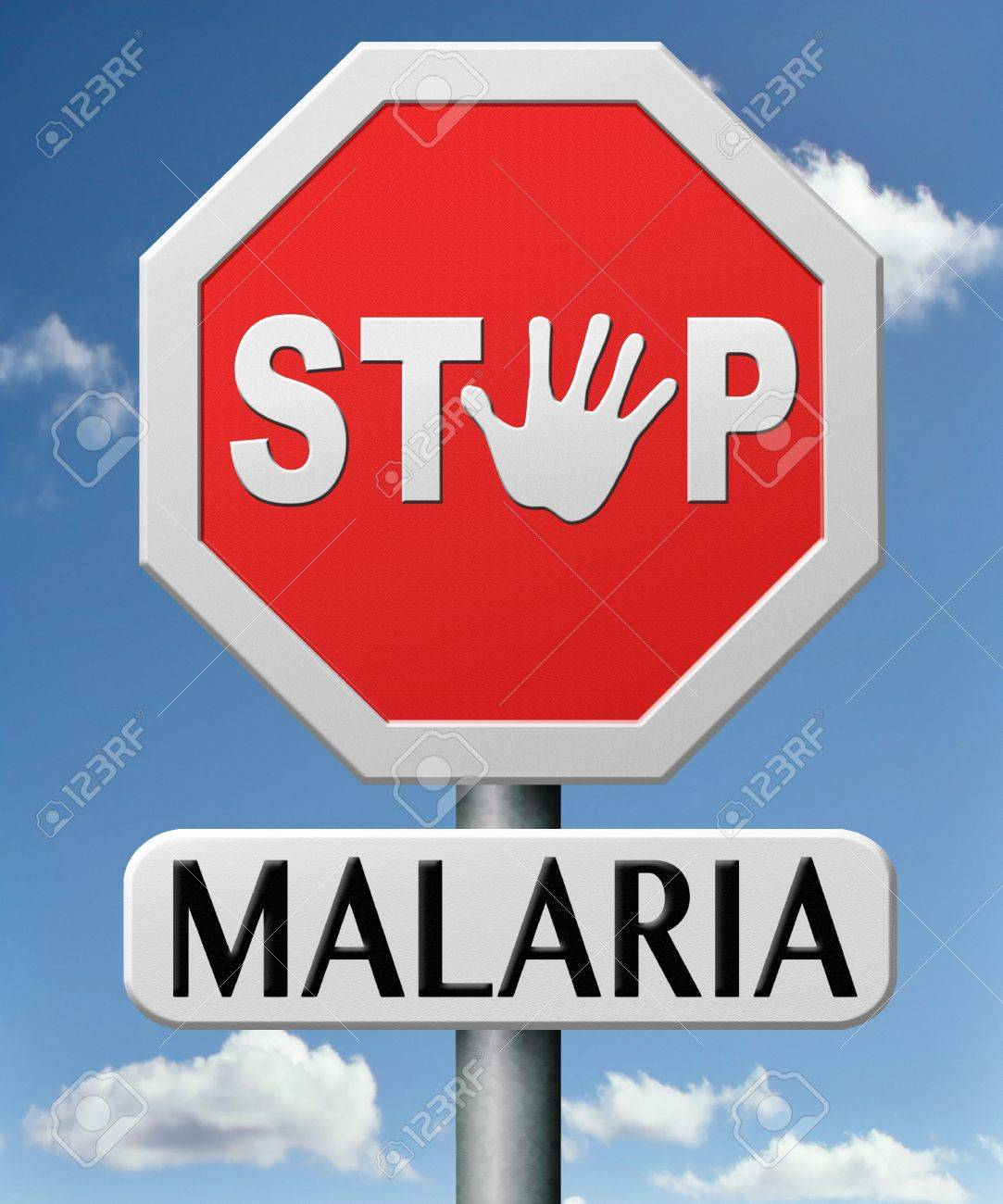 stop malaria by prevention treatment with pills or mosquito nets good diagnosis for sumptoms and insect repellent and net avoids bite and infection with parasite Stock Photo - 17463044