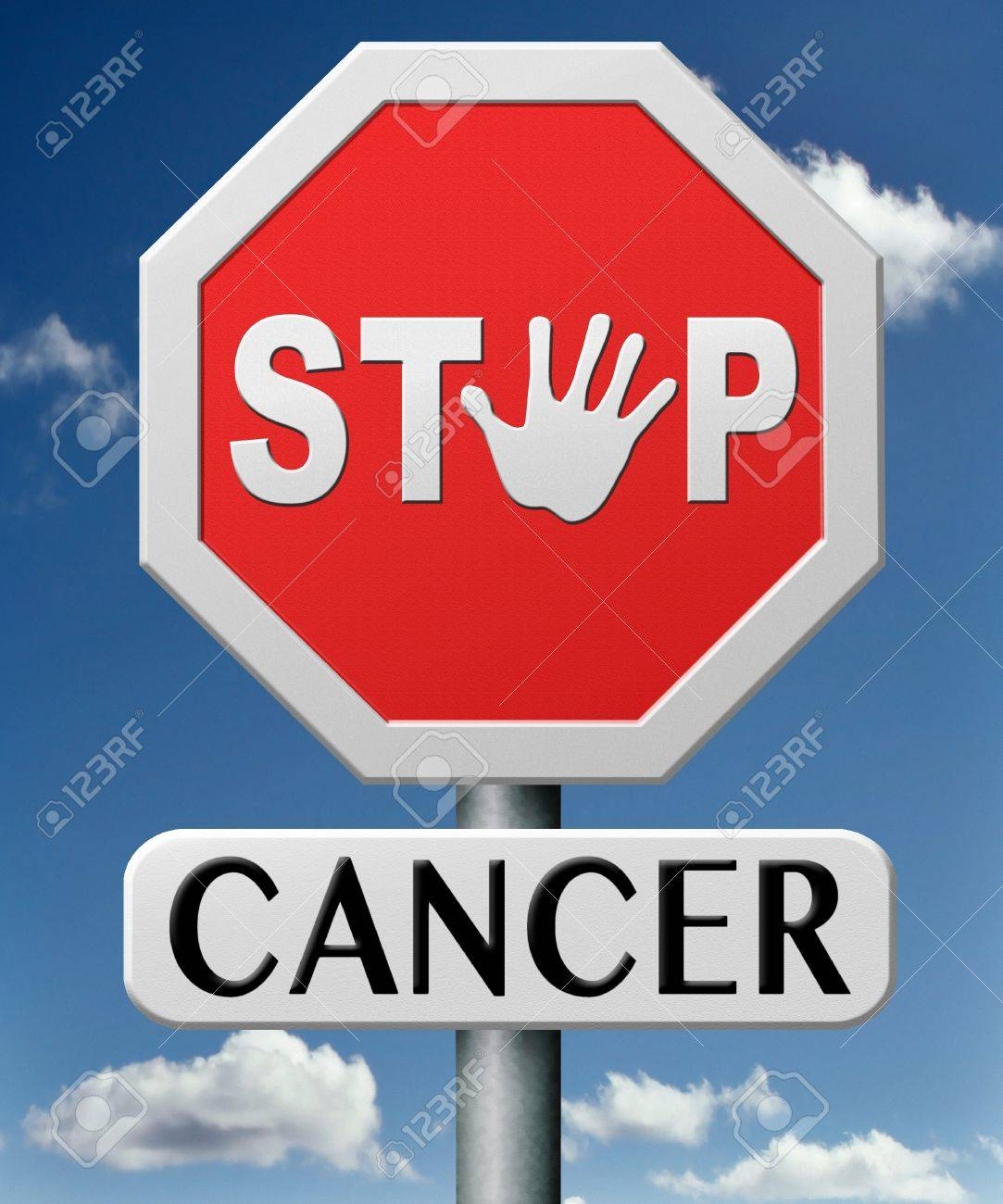 stop cancer by prevention and early diagnosis improve treatment prevent and find causes lung breast prostate liver cancers Stock Photo - 17463077