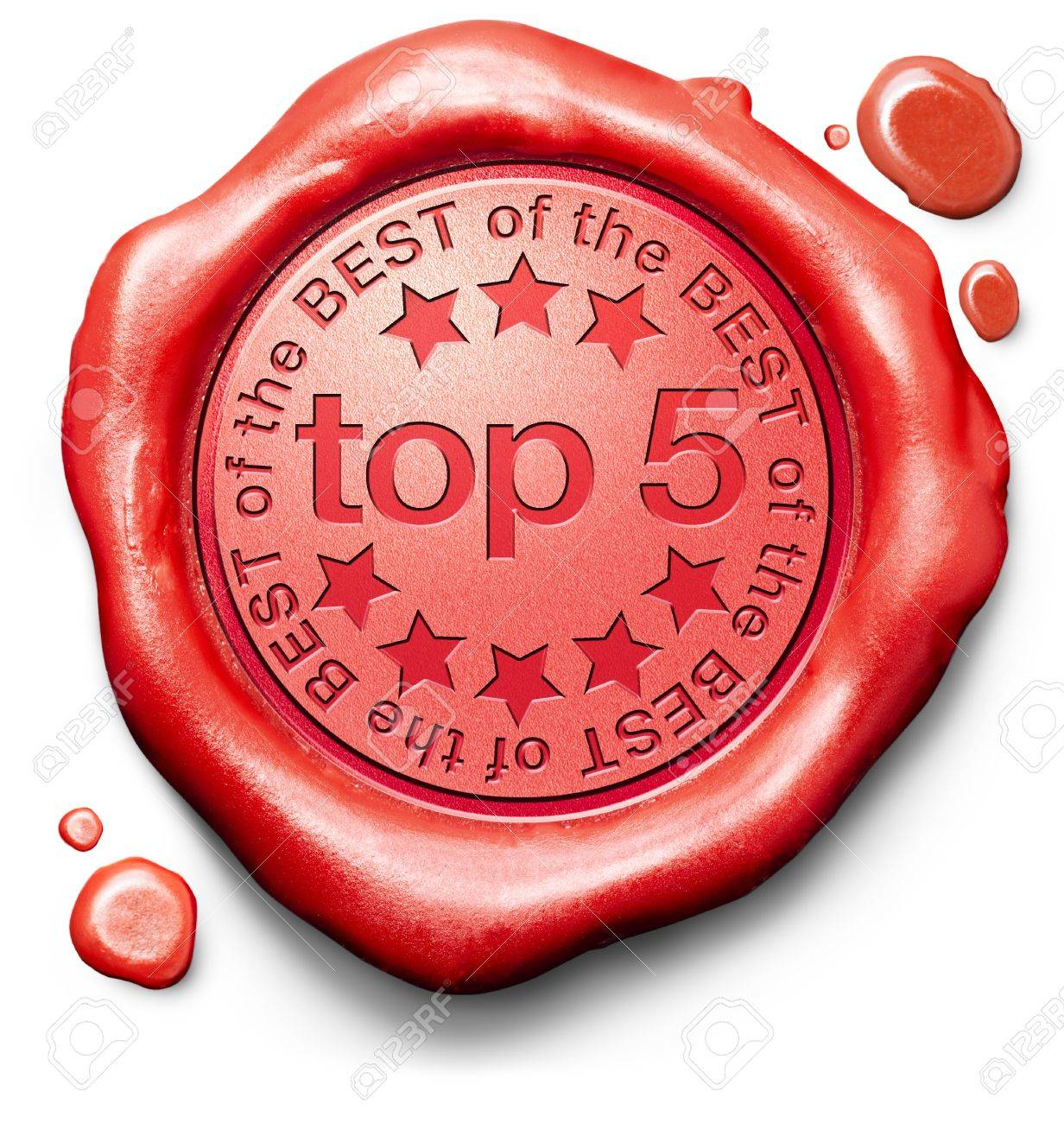top 5 charts list pop poll result and award winners chart ranking music hits best top quality ratingprize winner icon red wax seal stamp Stock Photo - 19870566