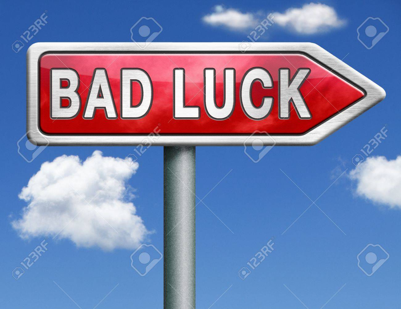 bad luck road sign unlucky bad day or bad fortune, misfortune arrow Stock Photo - 20125373
