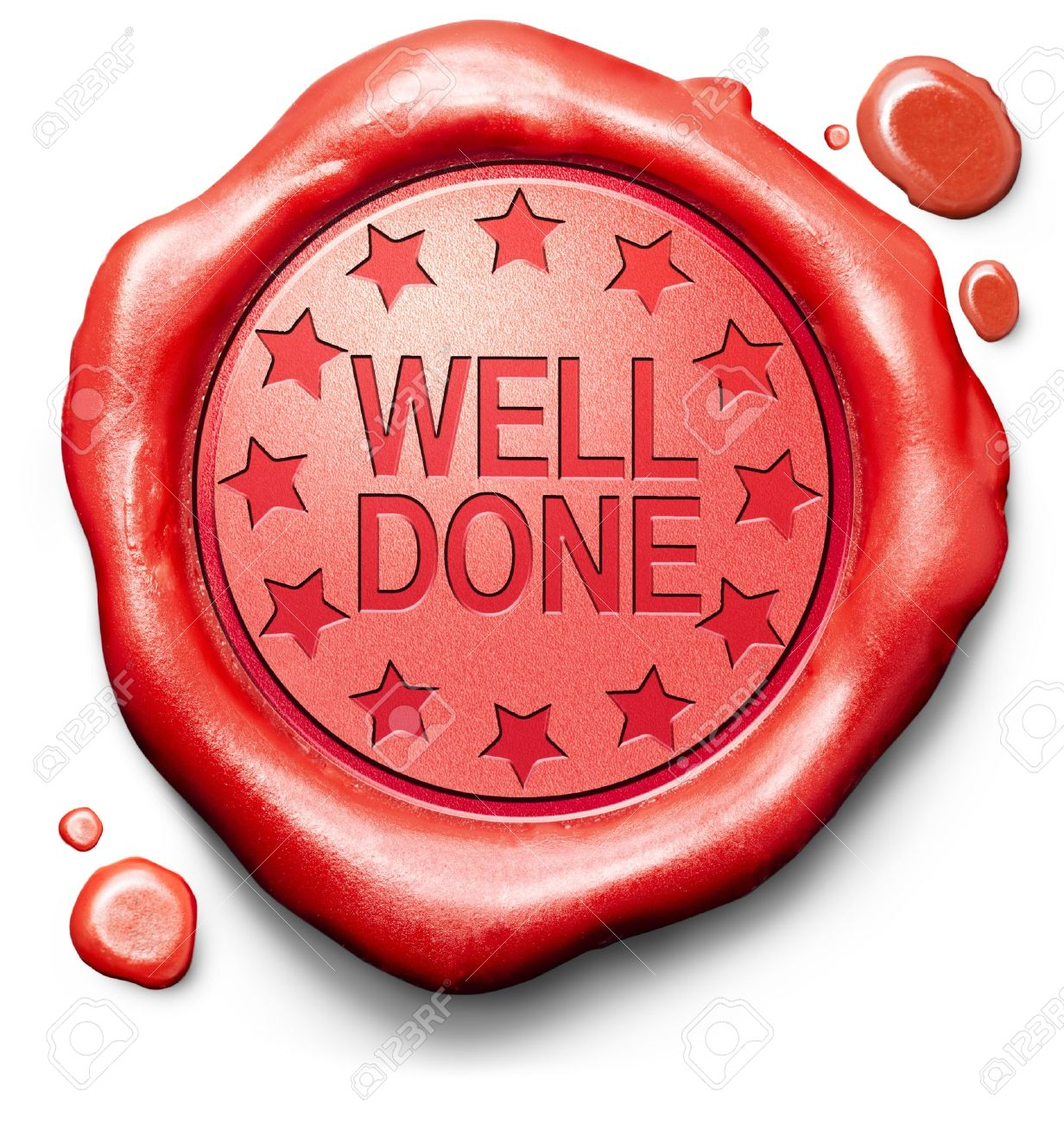 well done good job excellent perfomance great achievement thank you red icon stamp button or label Stock Photo - 20125648