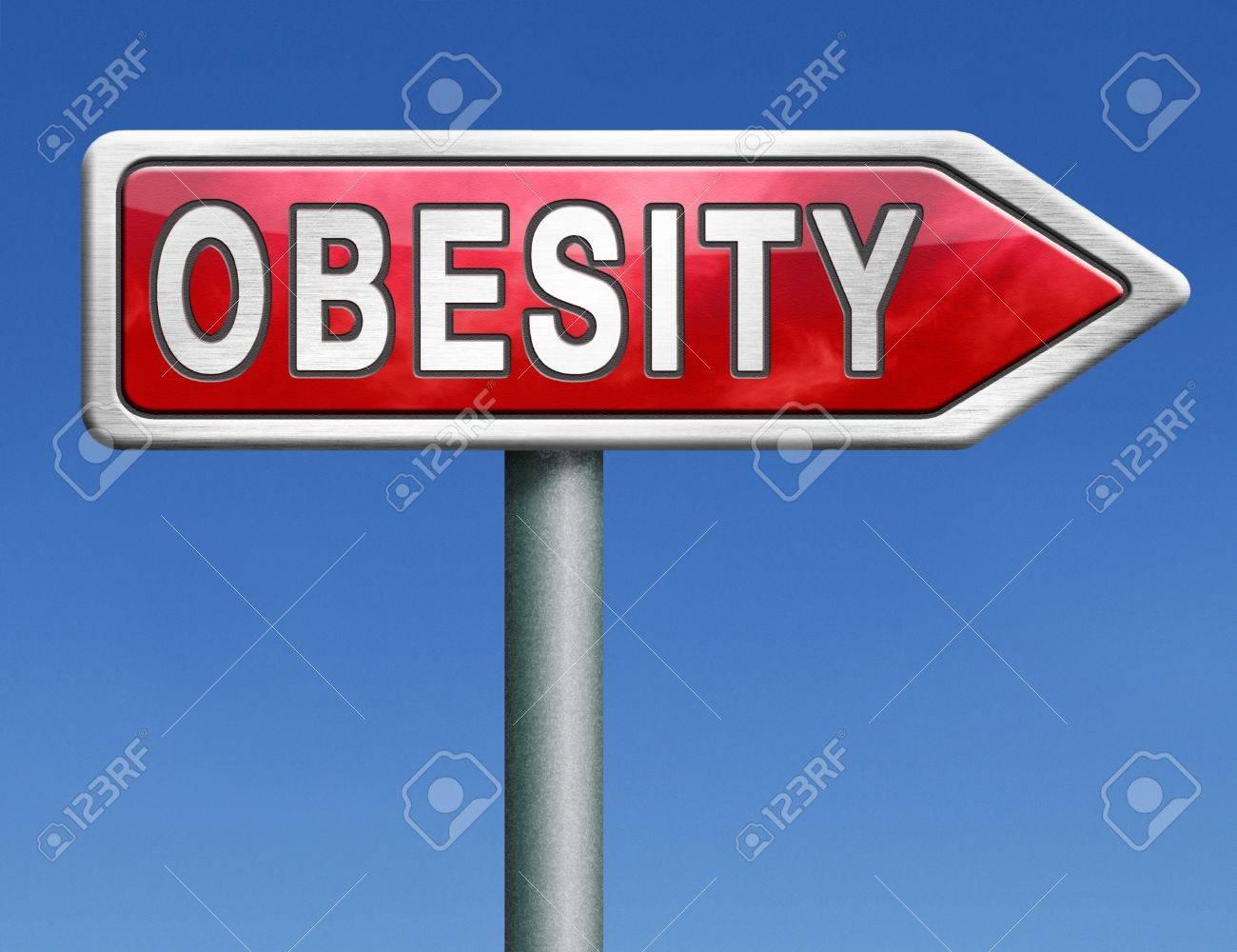 Le Persone Piu Grasse.Obesita Obeso Uomo Donna Bambino O Piu Bambini In Sovrappeso E Le Persone Grasse Rischio Diabetis Rosso Strada Segno Freccia Con Il Concetto Di Testo