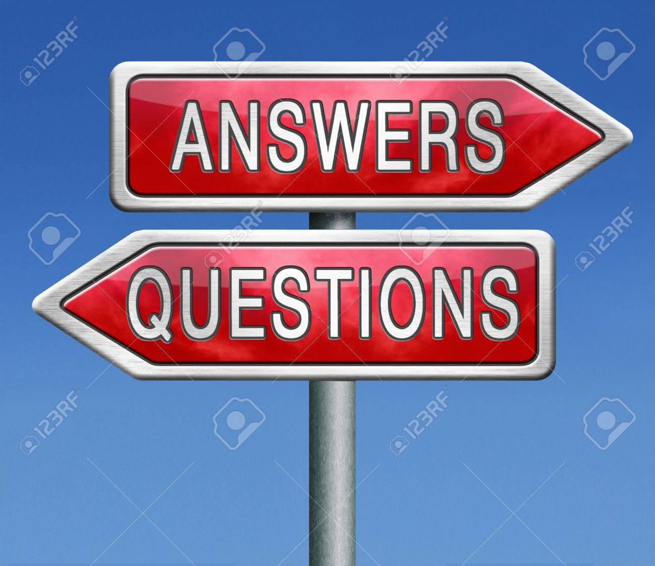 Stock Photo  Questions Answers Ask The Right Question And Get An Answer  Road Sign Indicating Online Help Or Support Desk Solving Problems
