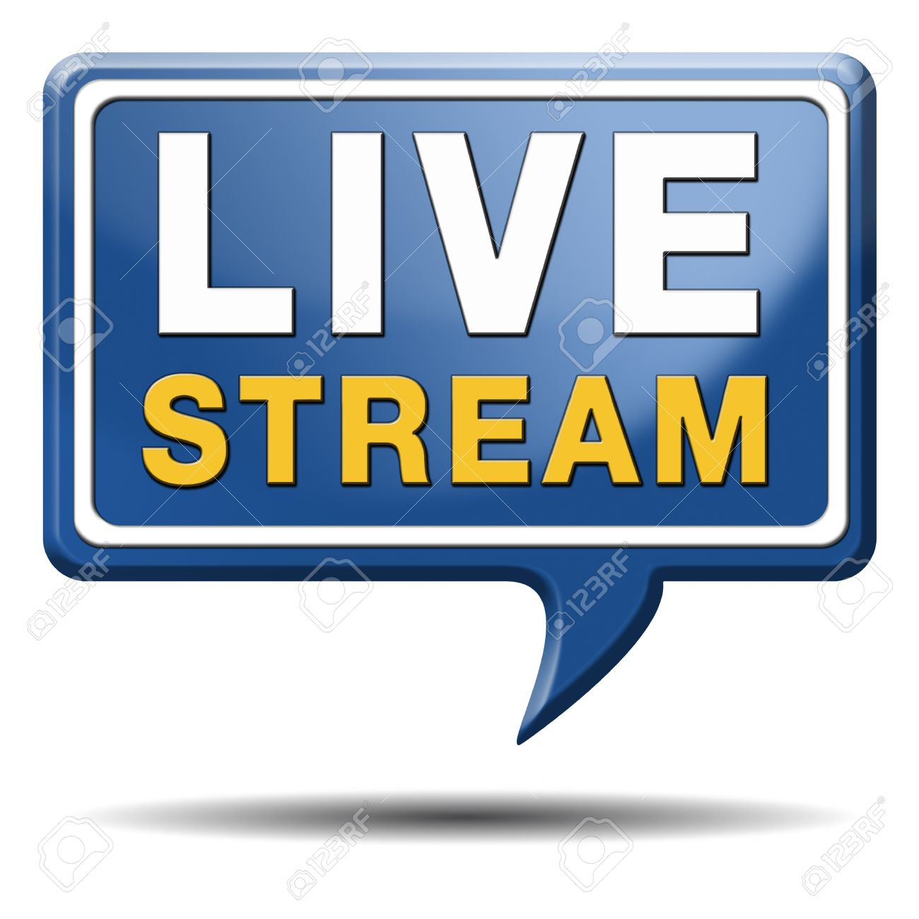 live stream tv music or video button icon or sign live on air broadcasting movie or radio program Stock Photo - 23236883