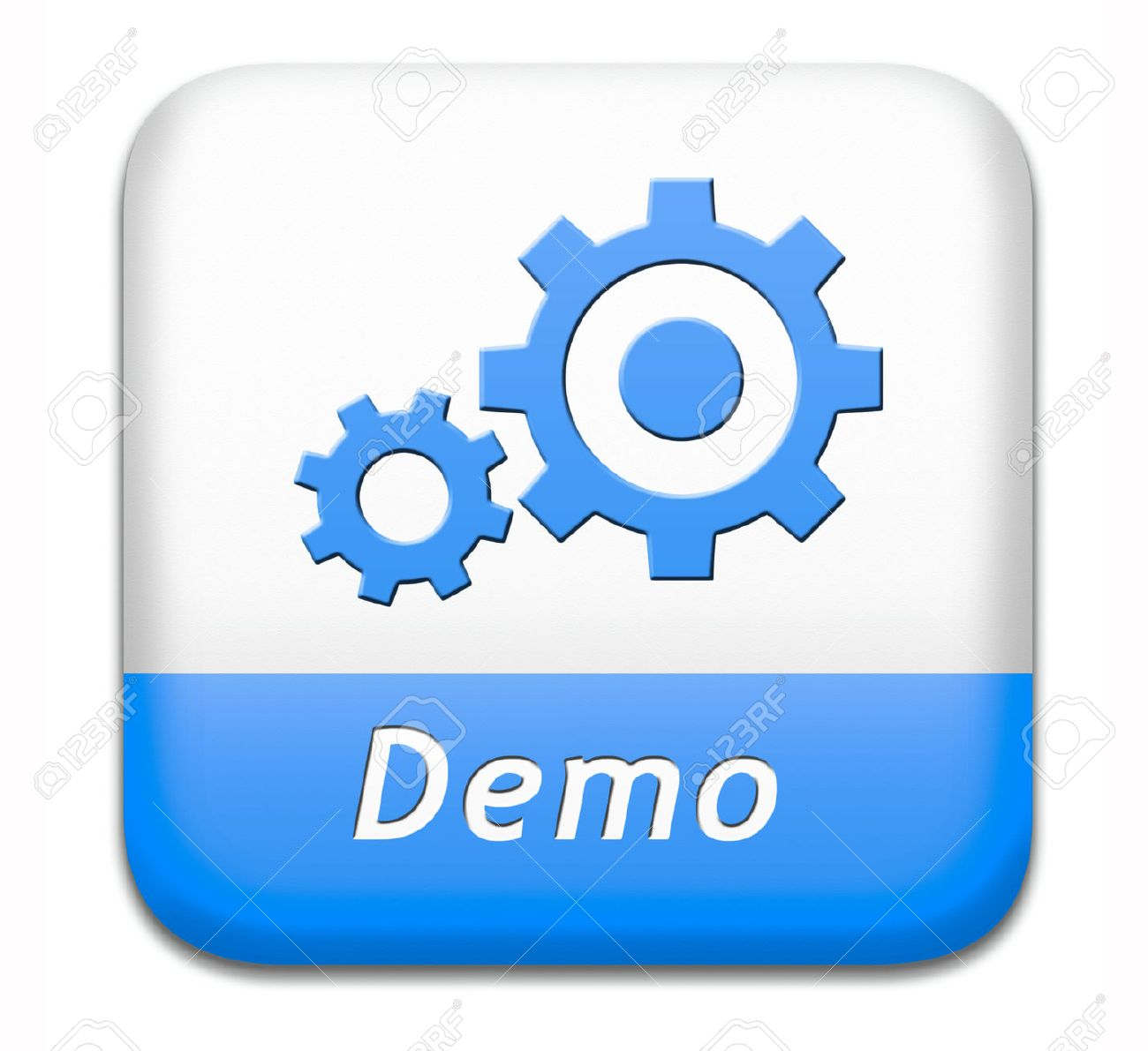 demo button or icon for free trial download demonstration stock