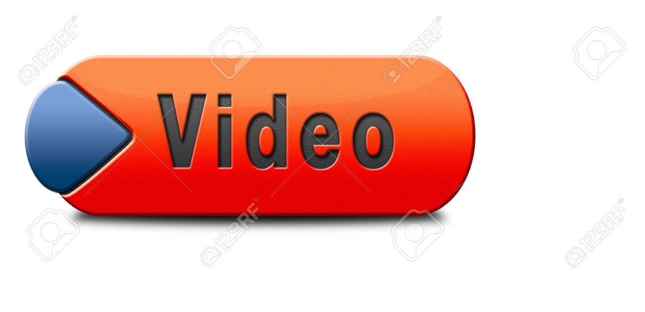 76f7b438 Stock Photo - Video play clip or watch movie online or in live stream,  multimedia button banner or icon