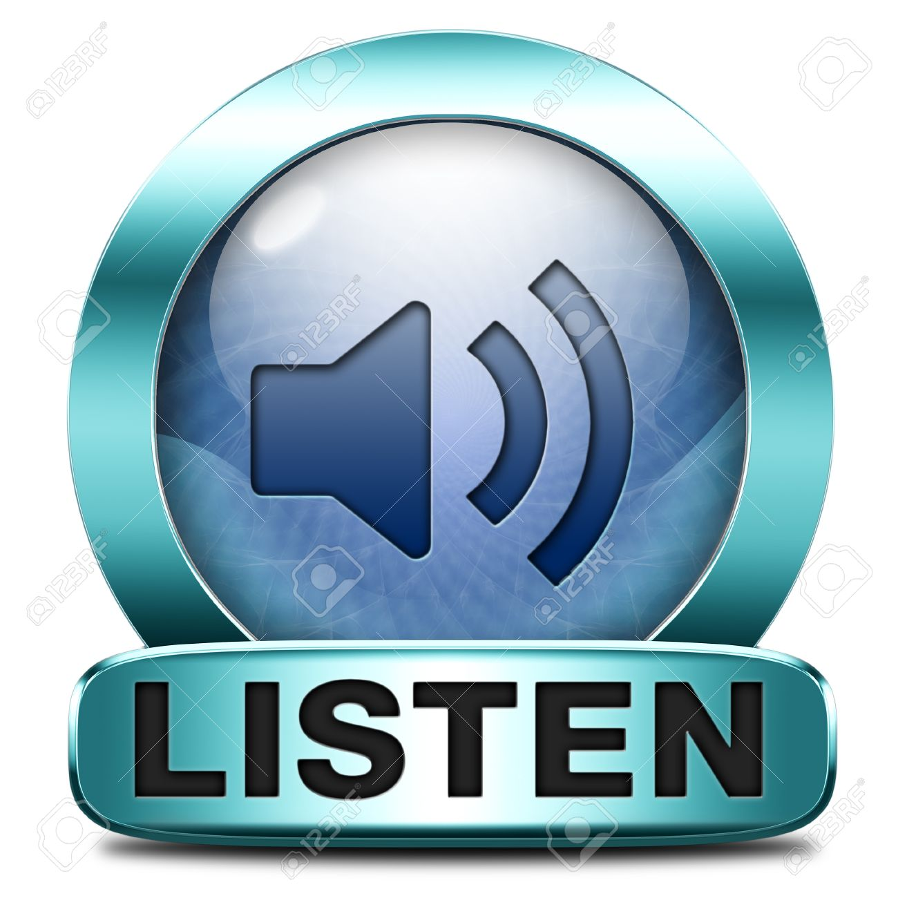 Listen live stream music song audio or radio button or icon