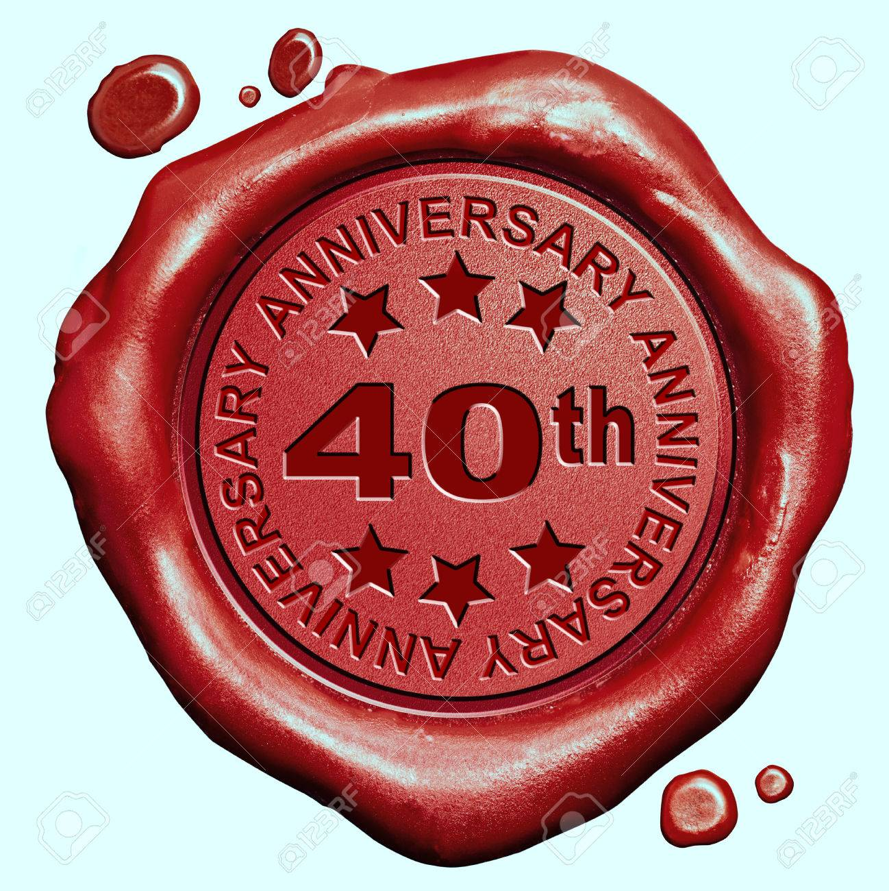 Conosciuto 40 ° Anniversario 40 Anni Sigillo Di Cera Rossa Timbro Giubileo  KY97