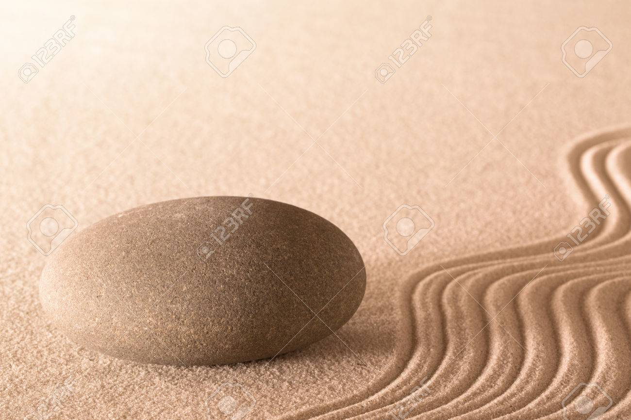 Wellness background  Spa Massage Stone Round Rock And Lines In Sand Wellness Background ...