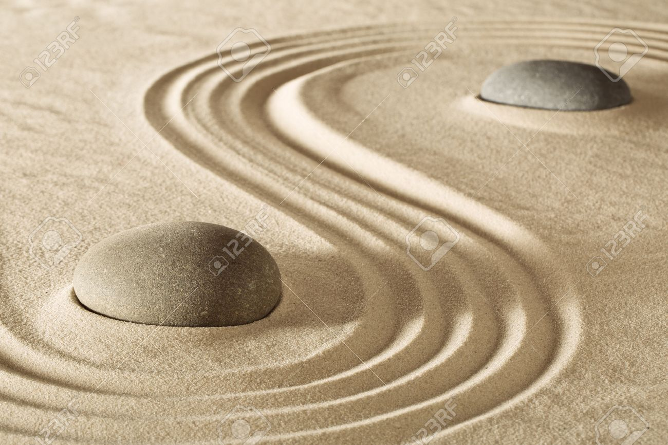Zen Stones Or Rocks And Raked Lines In Sand Japanese Stone Garden ...