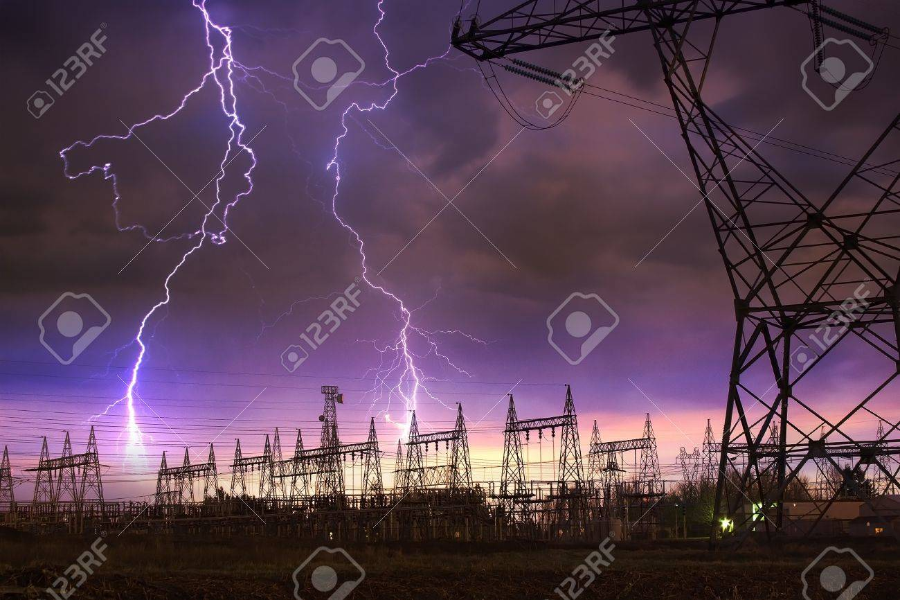 Dramatic Image of Power Distribution Station with Lightning Striking Electricity Towers. Stock Photo - 8559709