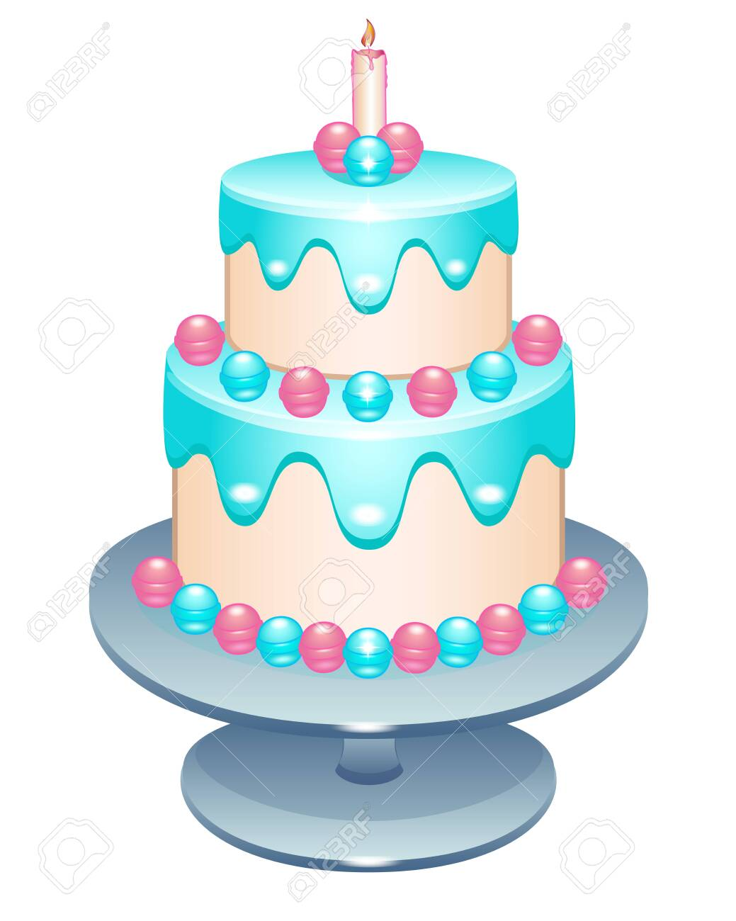 Pleasant Cake Two Tier Birthday Cake With A Candle On A Stand Cake Funny Birthday Cards Online Alyptdamsfinfo