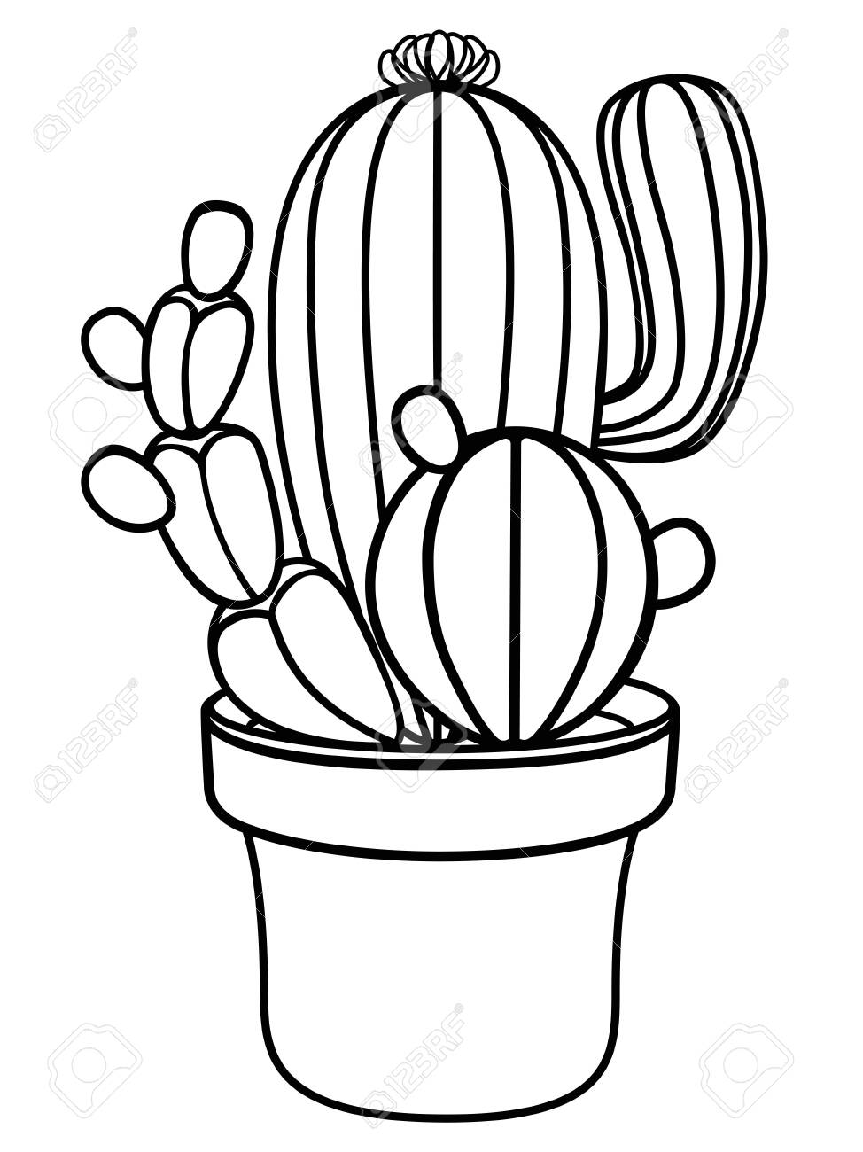 Cacti In A Flower Pot Home Plant Cactus Cacti Linear Picture Royalty Free Cliparts Vectors And Stock Illustration Image 134656844