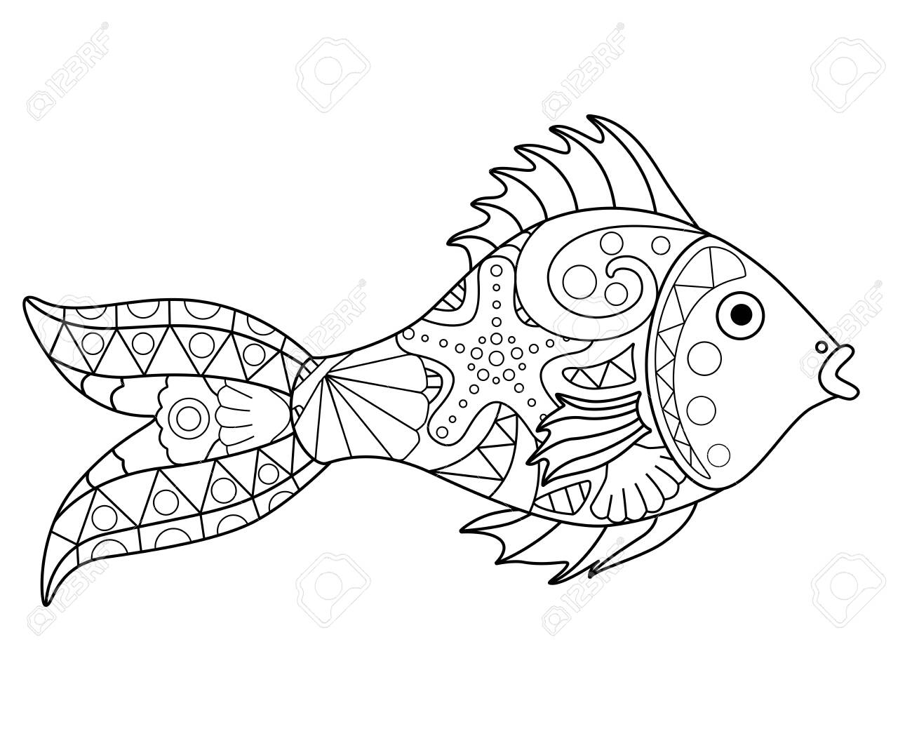 Small river or aquarium fish - vector antistress coloring book. Fish - a linear vector element for a coloring book about the sea. Outline Hand drawing. - 146799143