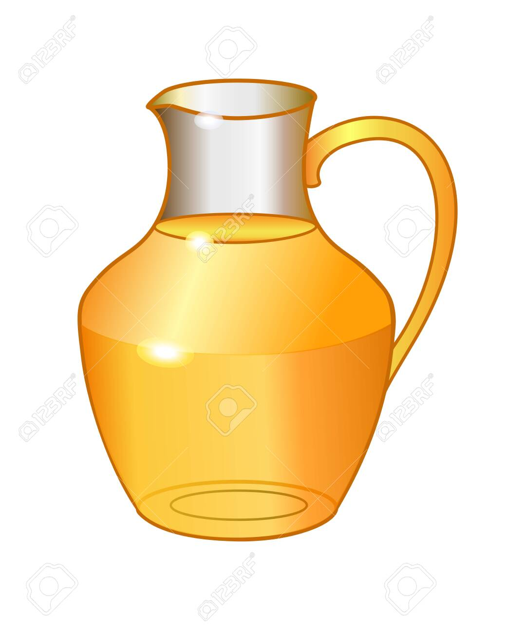 Transparent glass jug with orange drink - vector full color picture. Glass carafe with juice. Summer healthy drink - 148125840