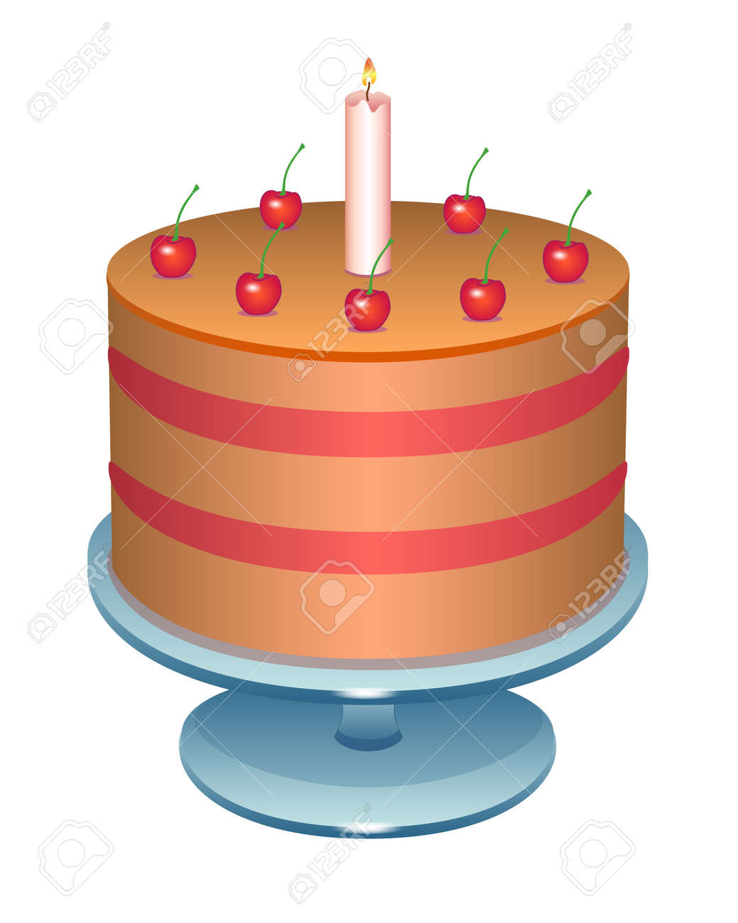 Cherry cake with a candle. Birthday cake on a stand - vector full color illustration. Puff cake decorated with cherries and candles - festive sweets. - 158322826