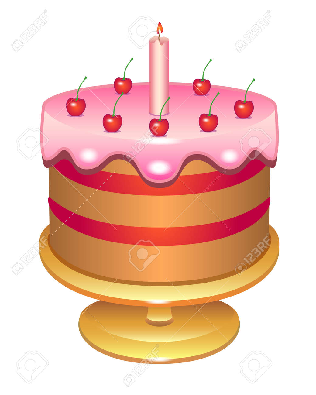 Cherry cake with a candle covered with icing. Birthday cake on a platter - vector full color illustration. Glazed cake decorated with cream cherries and candles - festive sweets. - 158454961