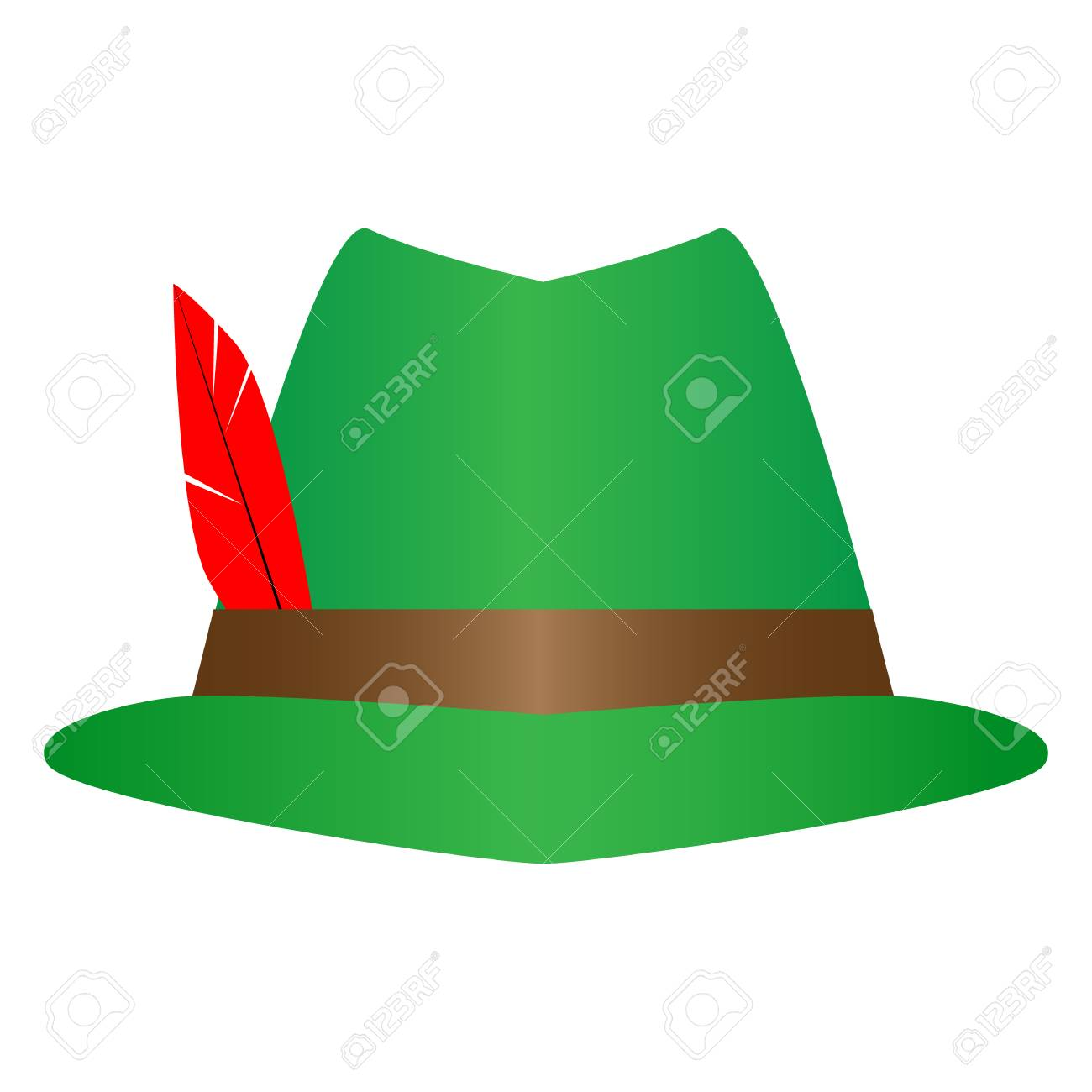 c3d55b57be3 Green German Alpine Octoberfest hat with red feathers. Hunter hat with  feather Illustration