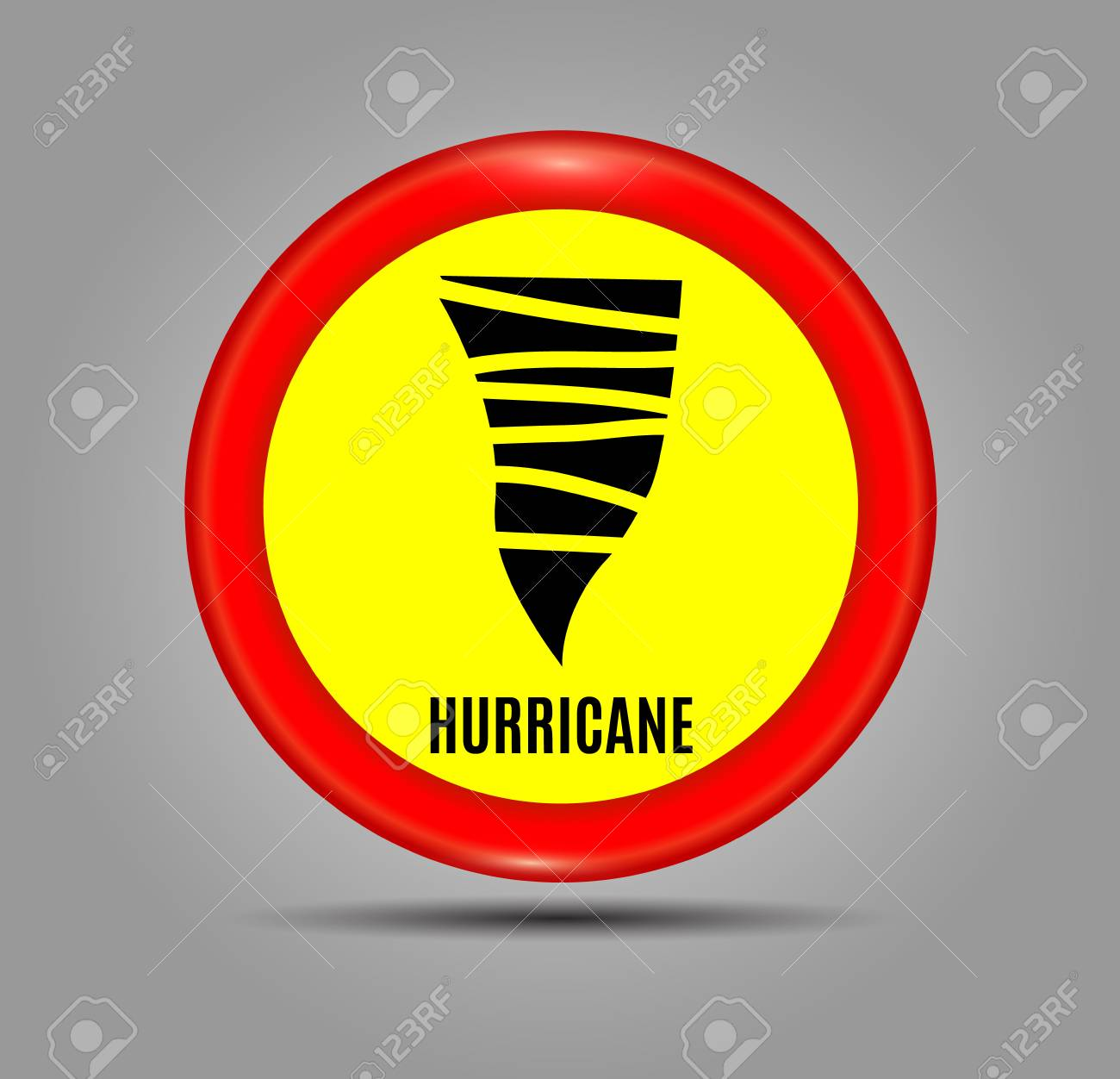 Stormy Weather Ahead Sign Board Hurricane Indication Graphic