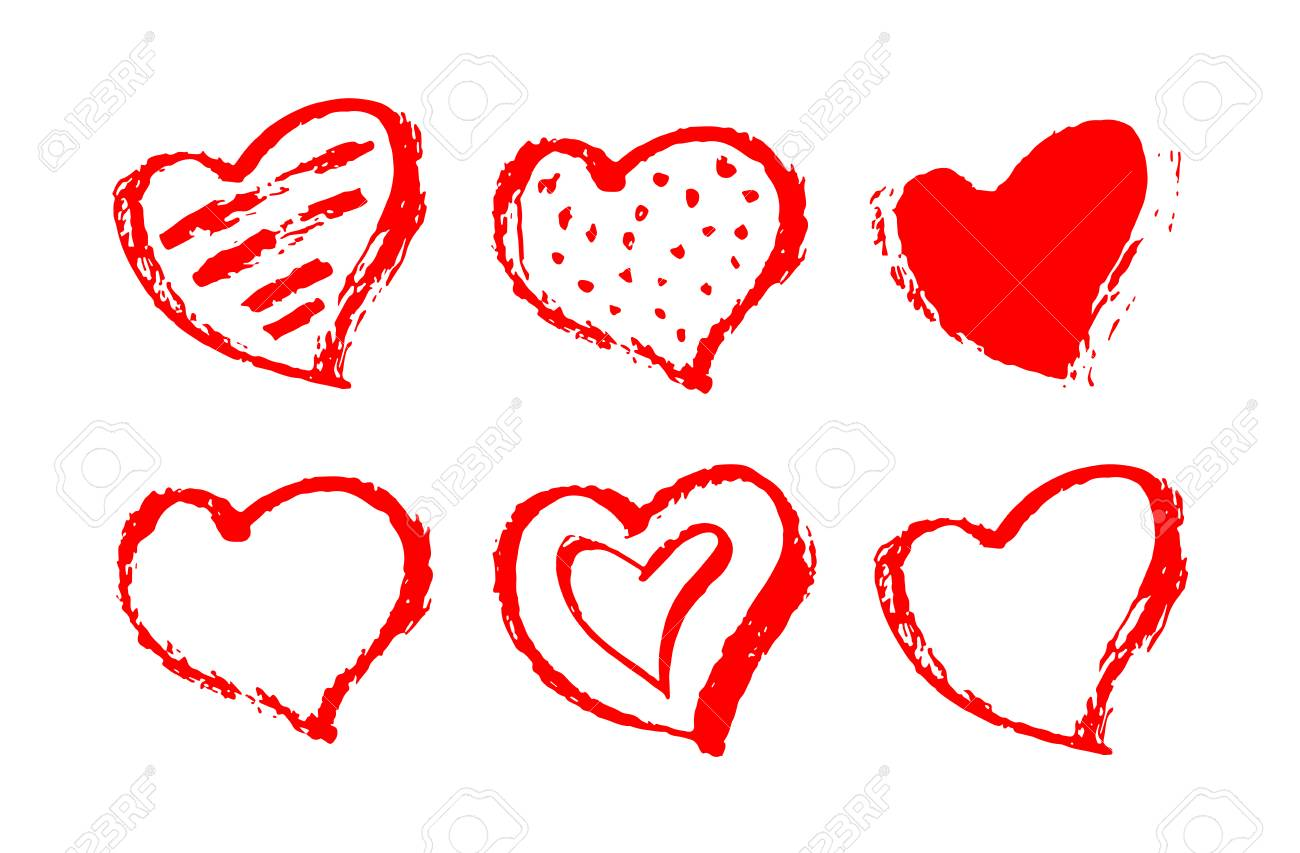 Vector Set Of Red Hearts Shape. Hand Drawn Heart Frames And Stamps ...