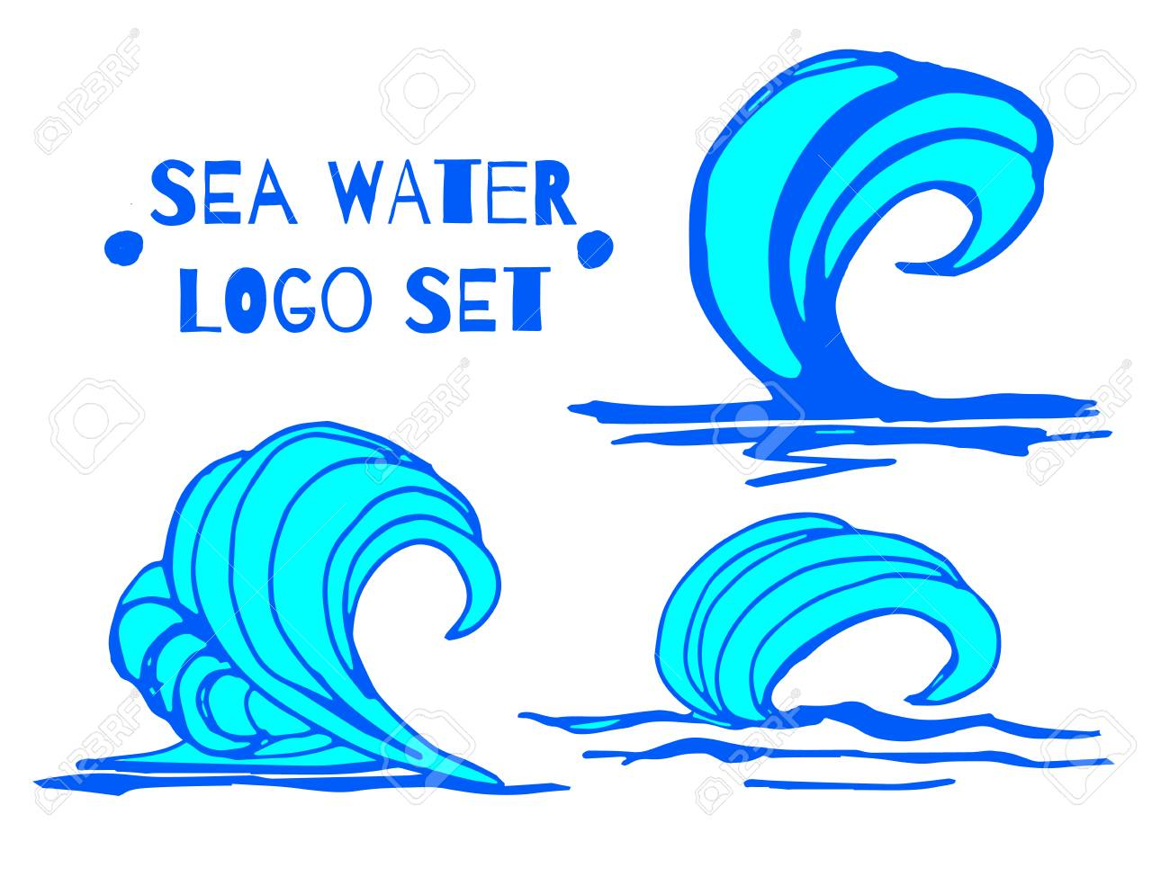 Vector Illustration Collection Of Hand Blue Water Waves Splatters