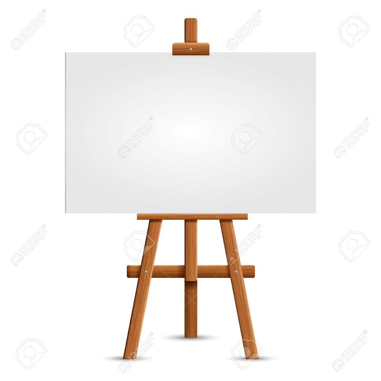 Blank art board and realistic wooden easel. Wooden Brown Easel with Mock Up Empty Blank Square Canvas Isolated on white background. Vector illustration - 96183171