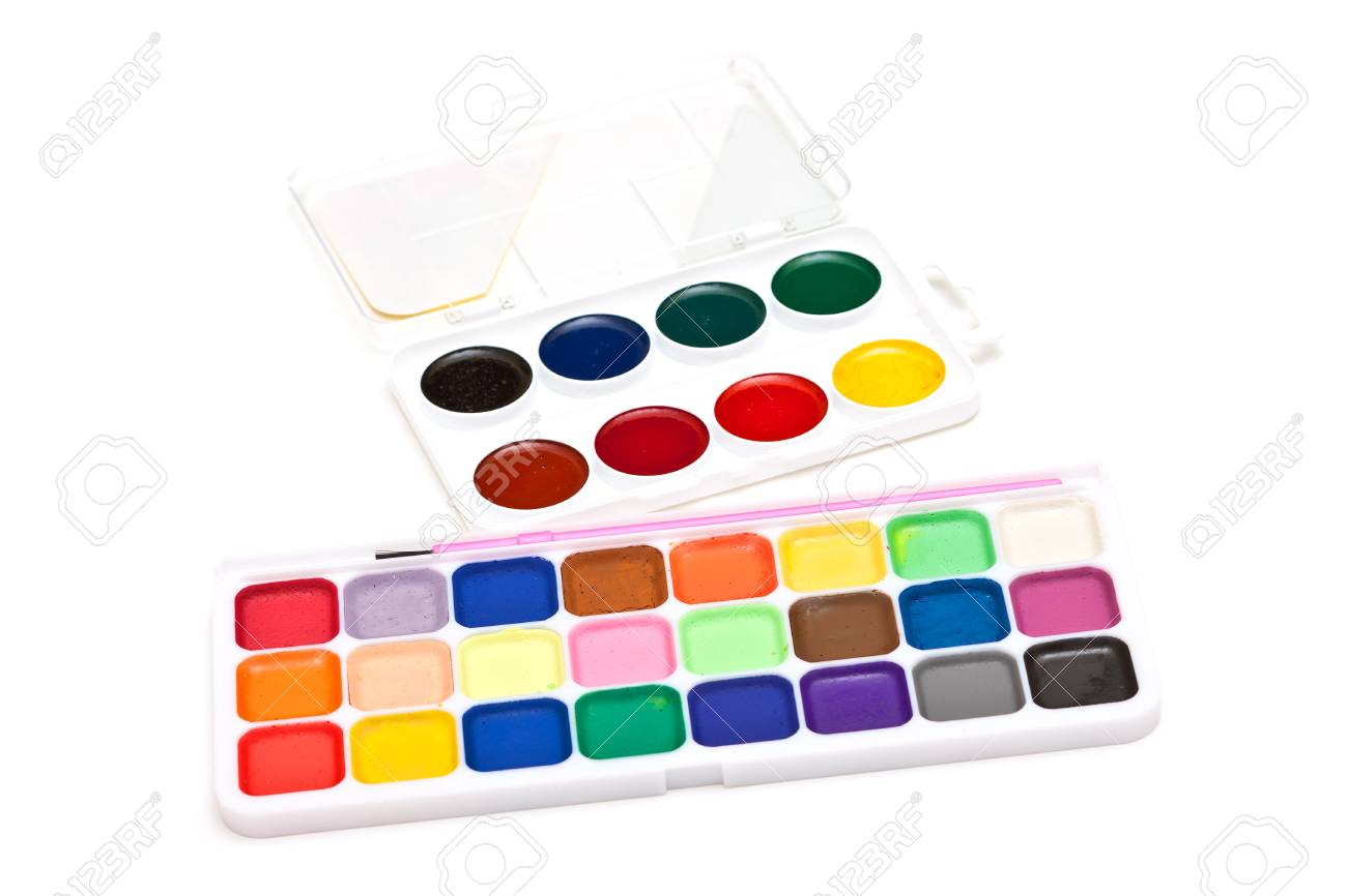 photo of set watercolor on white background Stock Photo - 11105840