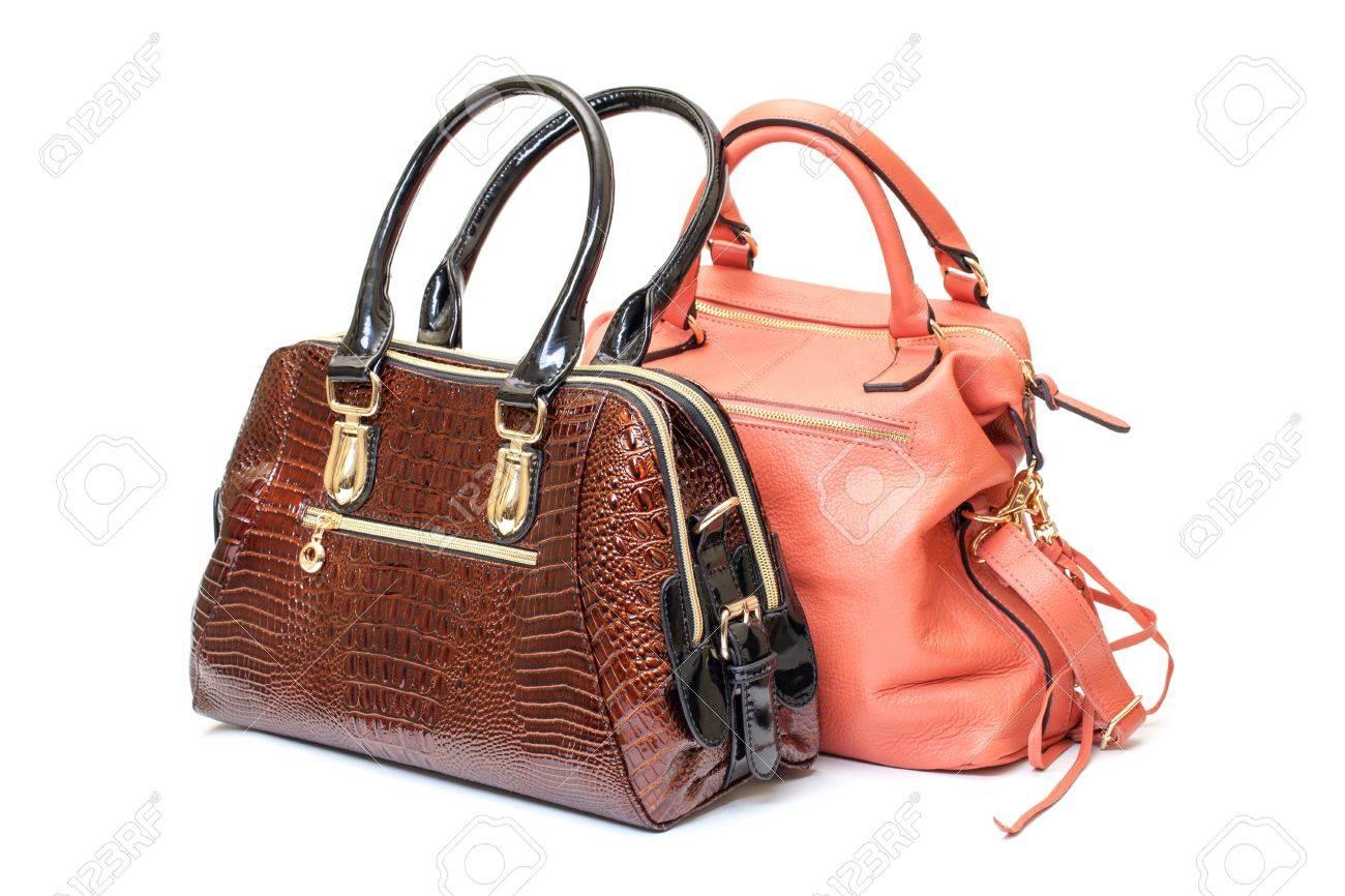 d7c271b4c6 Stock Photo - Two Leather Ladies Handbag on white background