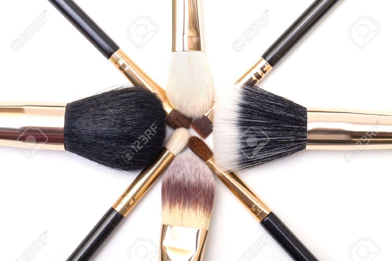 Makeup Brush Set On White Background Stock Photo