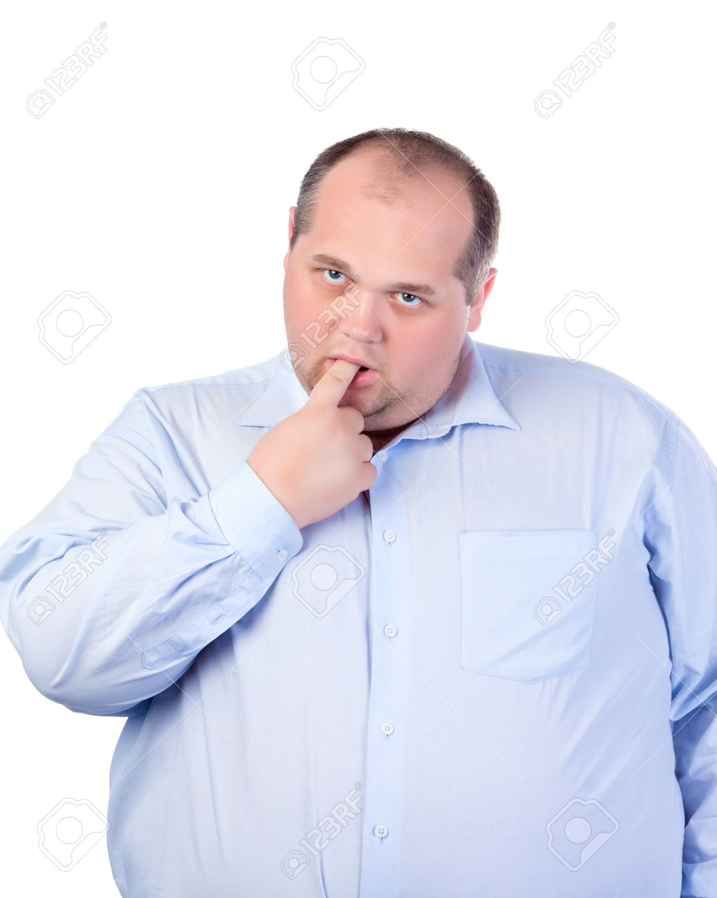 Fat Man in a Blue Shirt, Thumb-Sucking, isolated Stock Photo - 15200450