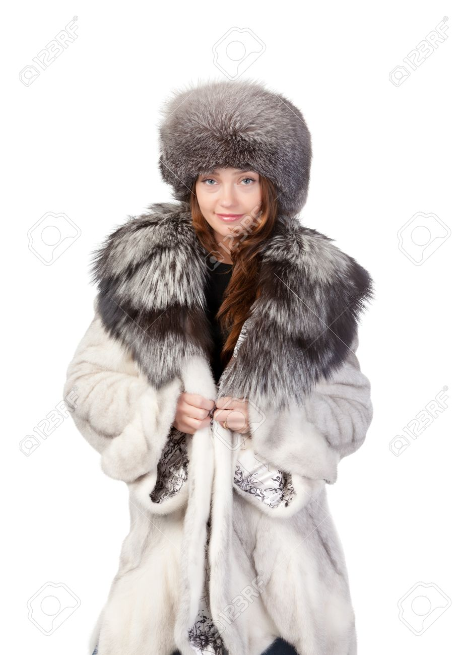 Sexy Woman Wearing A Stylish Winter Fur Coat And Hat For ...