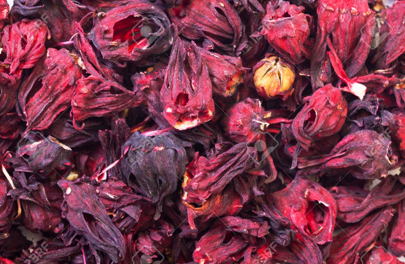 Dried Hibiscus Flowers Abstract Background Stock Photo Picture And