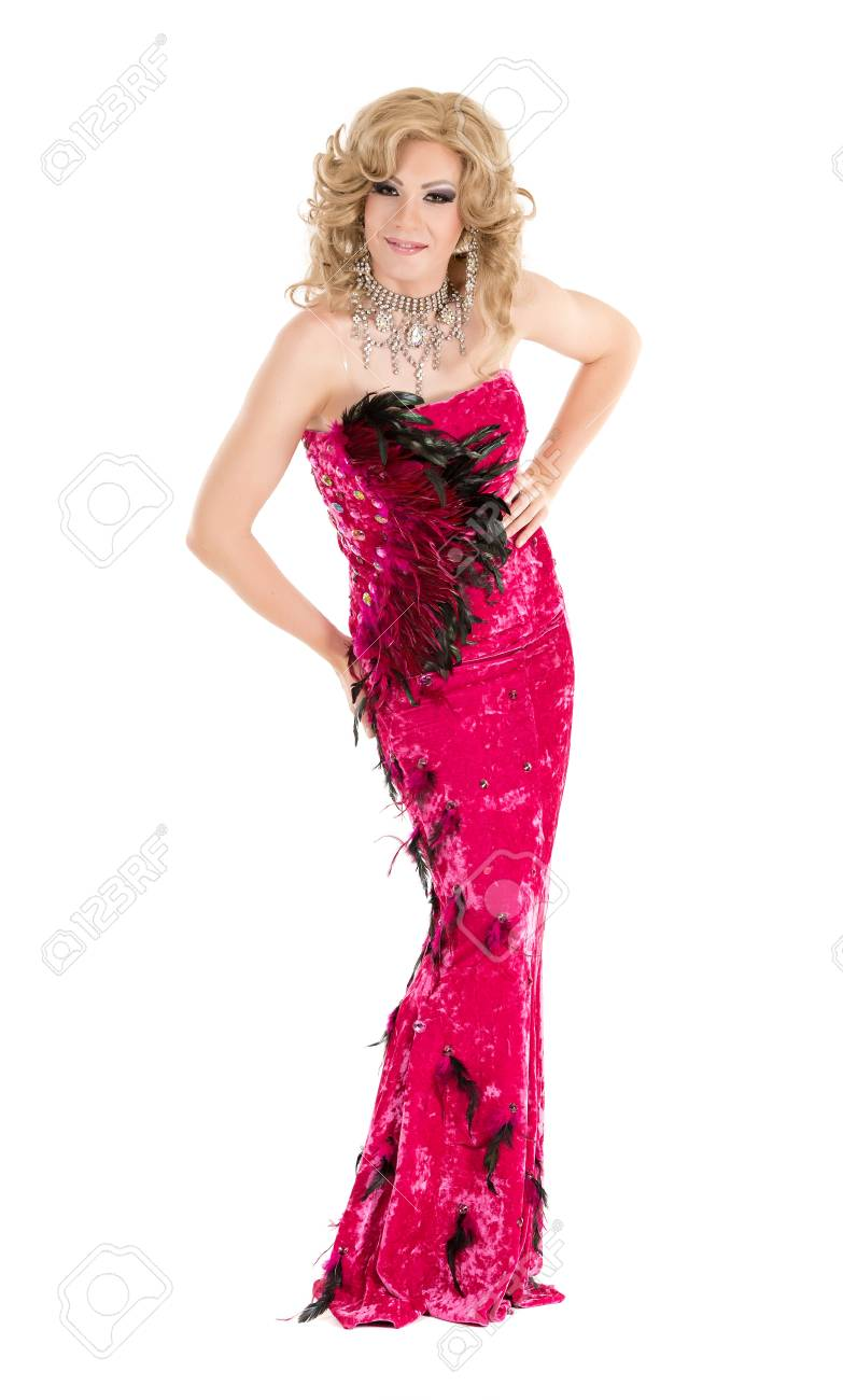 Drag Queen In Red Evening Dress Performing, On White Background ...