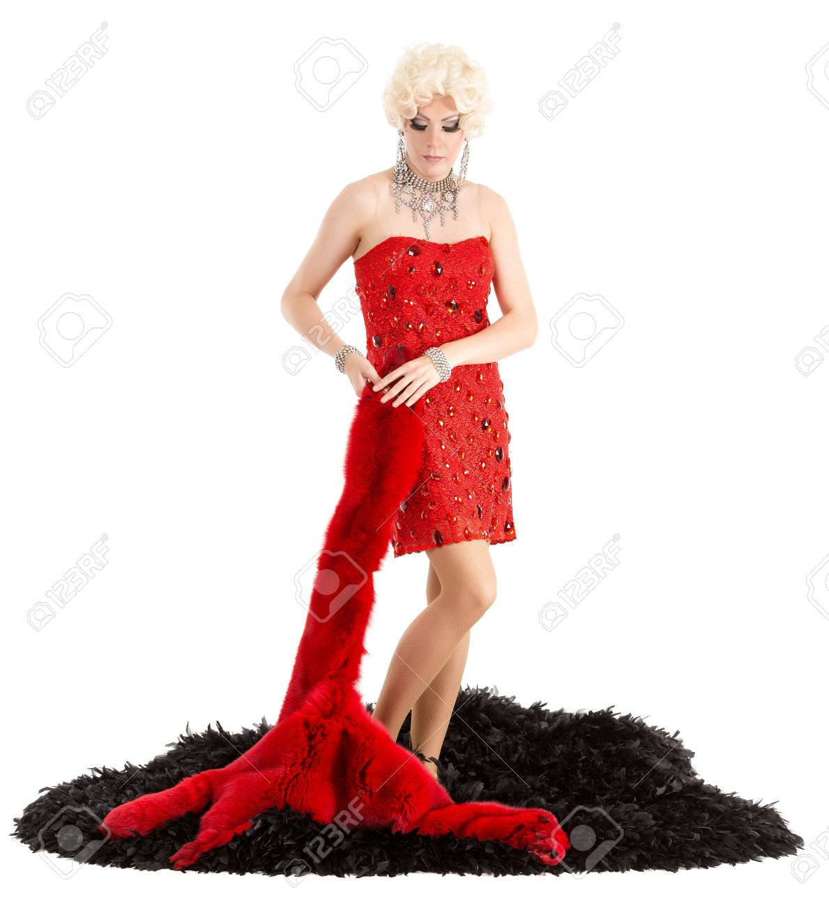 Drag Queen In Red Dress With Fur Performing, On White Background ...