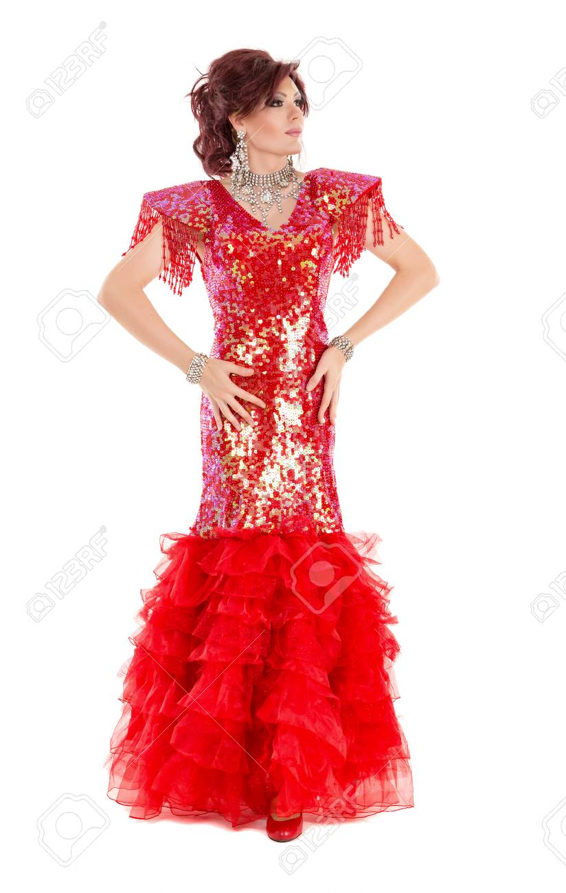 Portrait Drag Queen In Red Dress Performing, On White Background ...