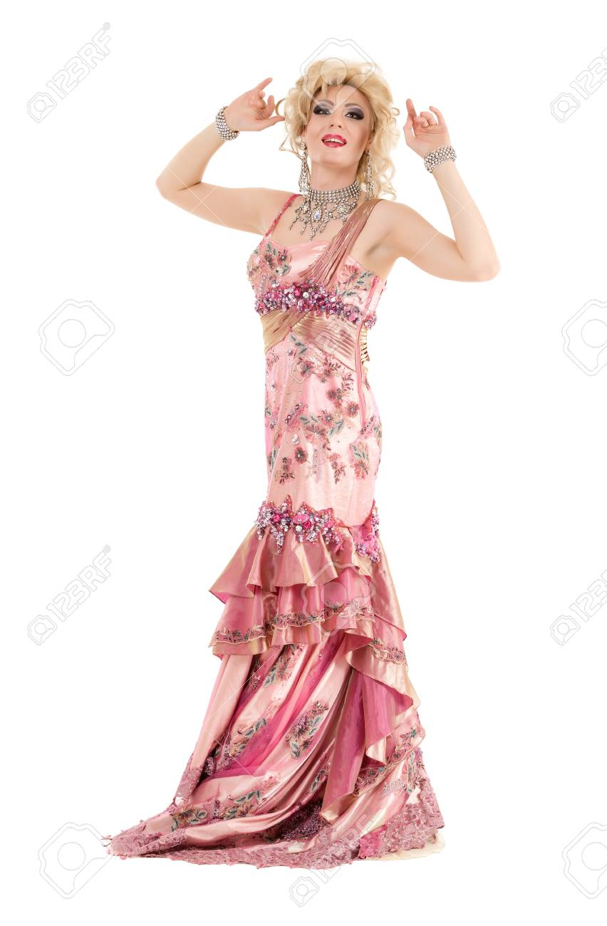 Portrait Drag Queen In Pink Evening Dress Performing, On White ...