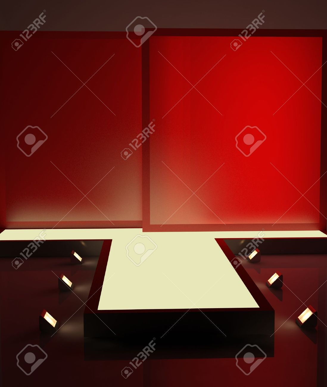 A red fashion podium with lighting for advertising Stock Photo - 10827654