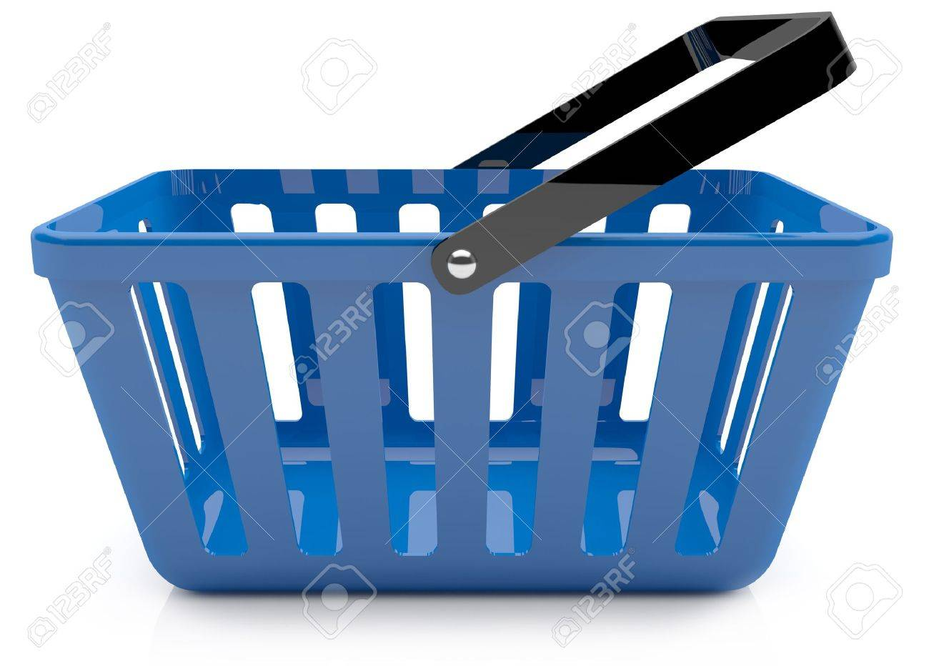 Plastic blue shopping basket. 3D model Stock Photo - 11003410