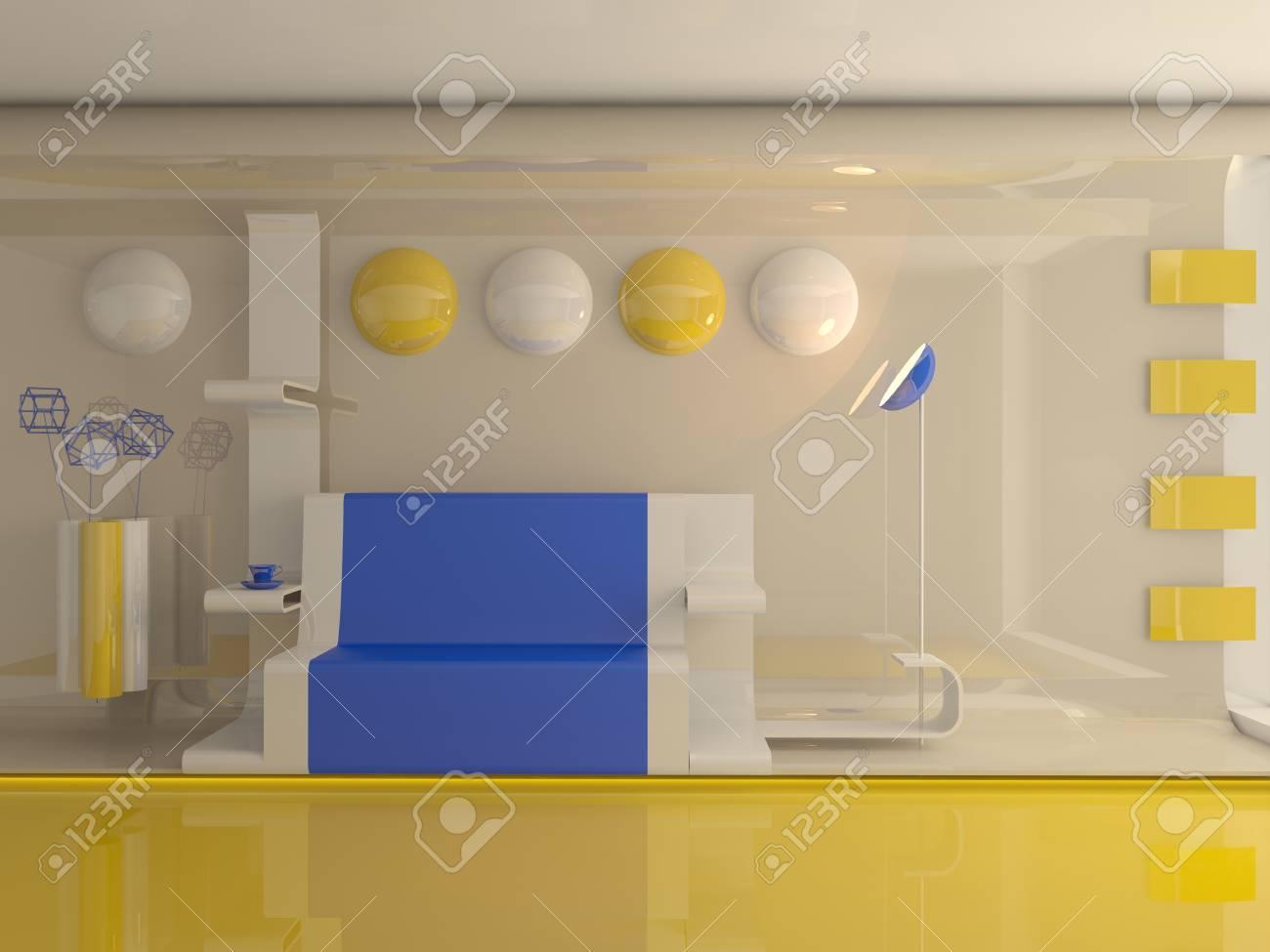 Modern interior d rendering lizenzfreie fotos bilder und stock