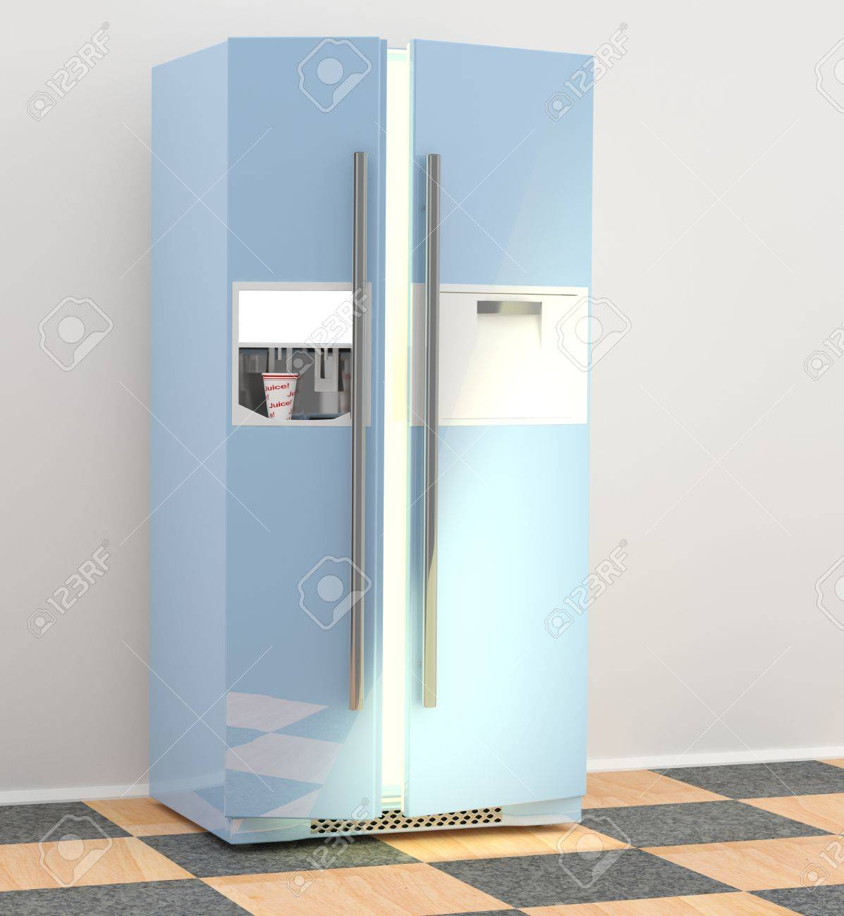 Refrigerator In Kitchen. 3D Model Of Fridge Stock Photo, Picture And ...