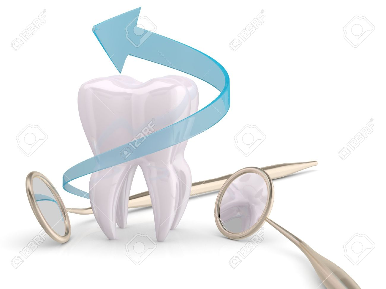 Teeth protection cooncept. Dentist mouth mirror, tooth and blue arrow Stock Photo - 12164897