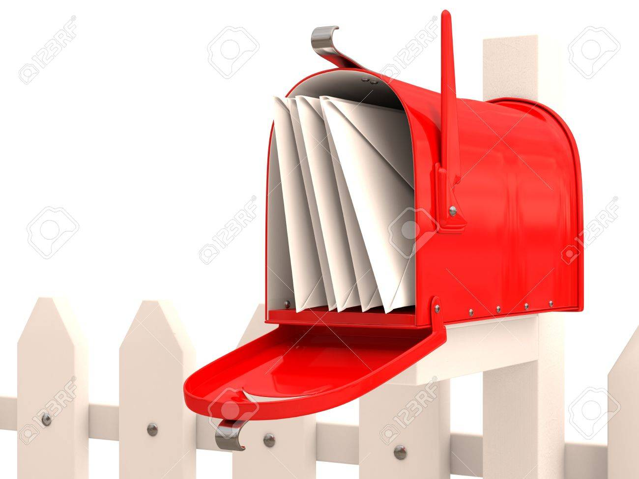 Red mailbox with mail on fence. 3D render Stock Photo - 12543958
