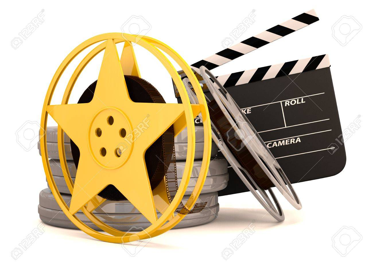 Movie Film Reels And Cinema Clapper 3d Render Stock Photo Picture