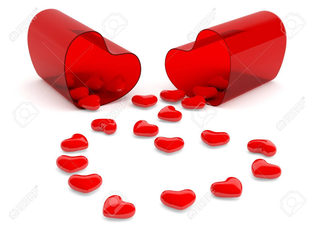 Hearts in pill. 3D model isolated on white Stock Photo - 12842374