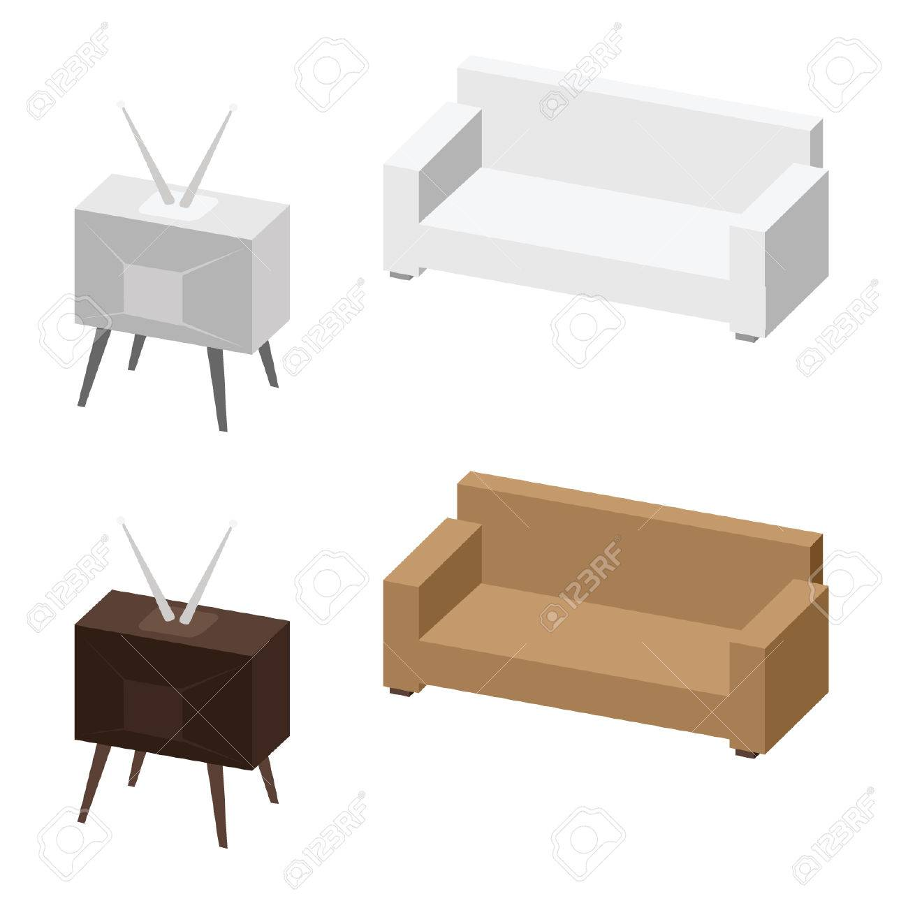 TV And Sofa. Relax Concept. Vector Illustration Royalty Free ...