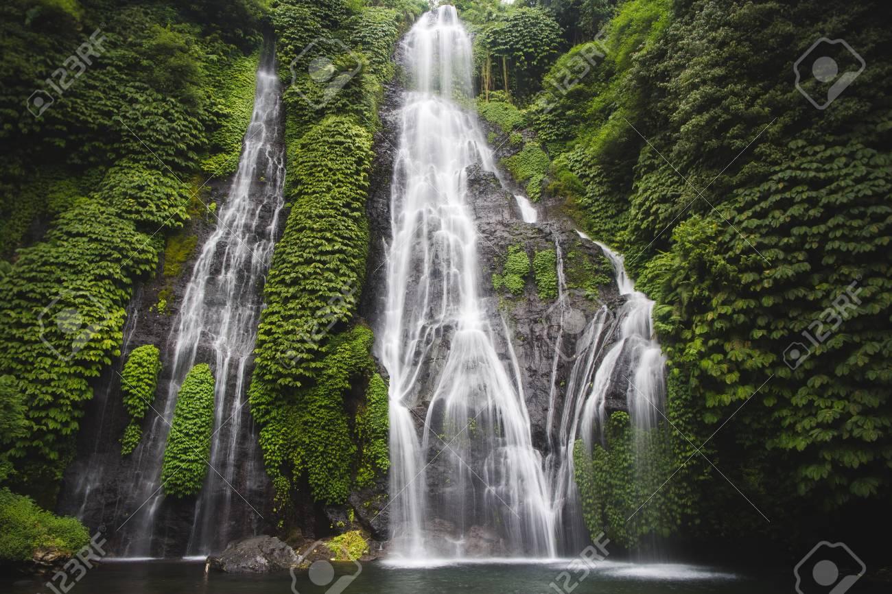 Secret Bali Jungle Waterfall Called Banyumala Stock Photo Picture